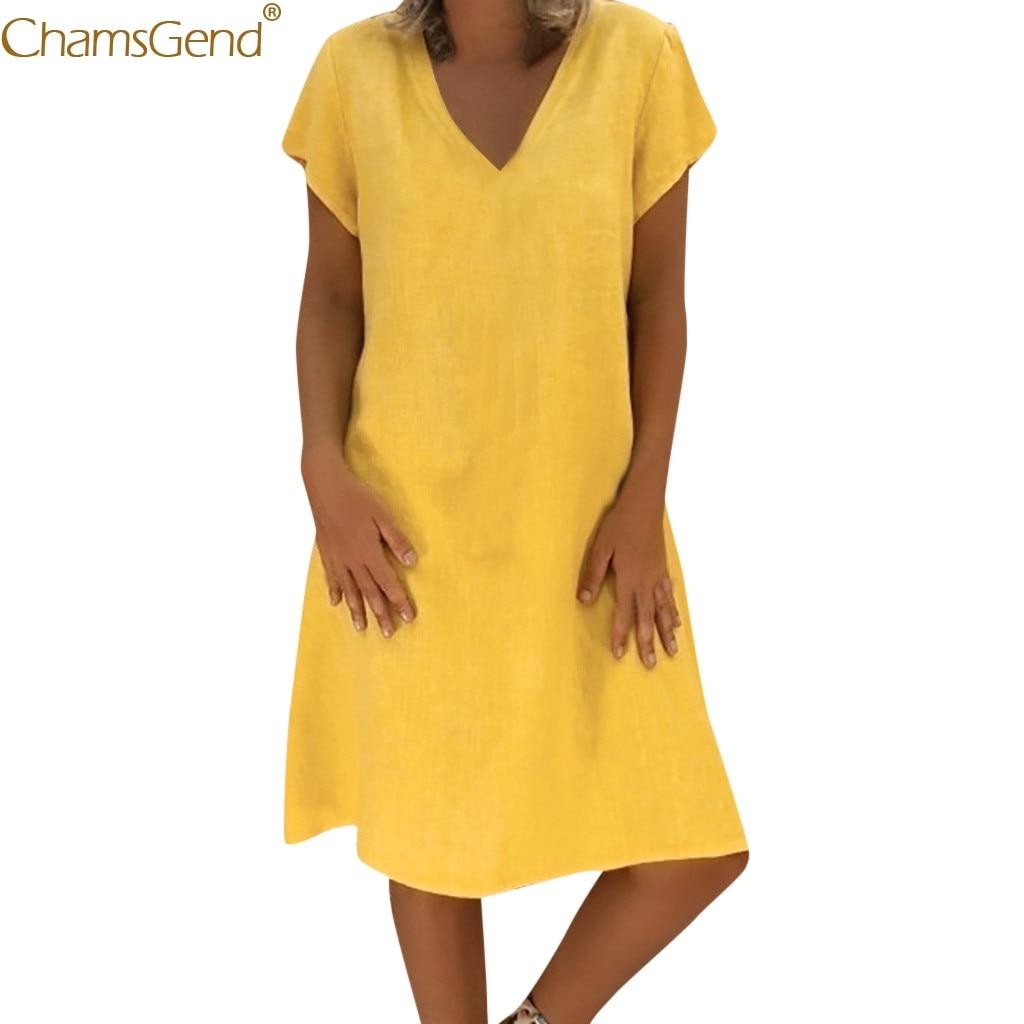 Girl summer dress 2019 Short Sleeve Loose  Dress Summer Casual Female Cotton Casual Plus Size V-Neck Short Dresses Natural Jun26