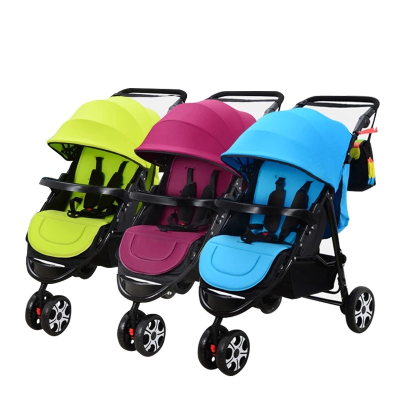 Twin baby strollers detachable twin triplets multiple folding twin strollers three child car