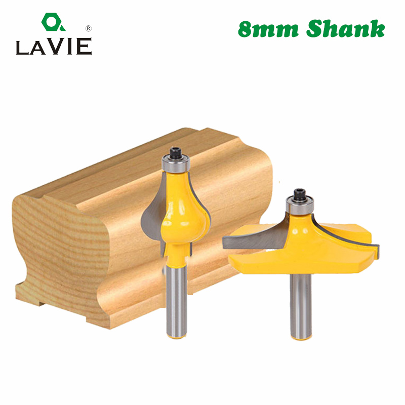 LAVIE 2pcs 8MM Shank Armrest Mill Handrail Router Bits Set Wavy Flute Tenon Milling Cutter For Wood Woodworking Cutters MC02064