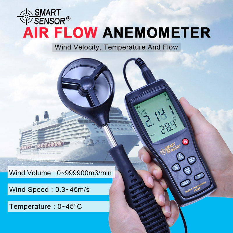 Smart Sensor AS856 0.3-45M/S digital anemometer wind speed meter hand-held Anemometer Thermometer air speed meter smart sensor as836 digital anemometer wind speed meter wind direction