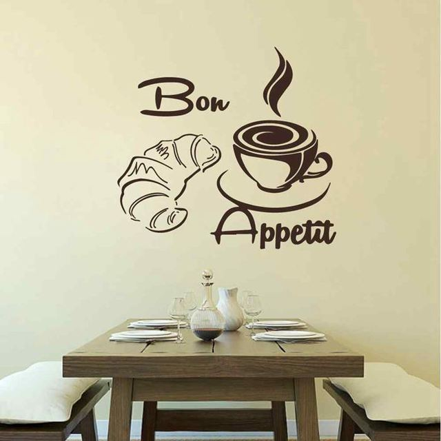 battoo bon appetit wall decal croissant coffee cup kitchen wall