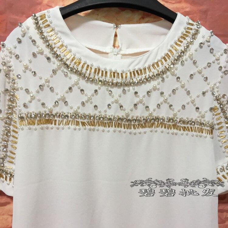 Personnalisé 2017 Camisetas Robuste Manches Tops Rond À Vente Gamme Aristocratique Dingzhu Femmes blanc Tumblr Col Noir De Longues Nouvelle Haut Luxe Chargé gpF0x85wq