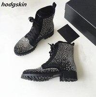 2019 роскошные женские ботинки с черными стразами и заклепками; ботильоны на шнуровке; Zapatillas; женская обувь