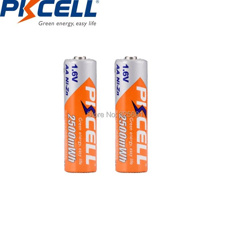 2 шт. PKCELL aa NIZHI Перезаряжаемые Батарея nizhi AA 2500mWh nizn 1,6 упакованы с 1 прозрачный Батарея чехол для Батарея для хранения