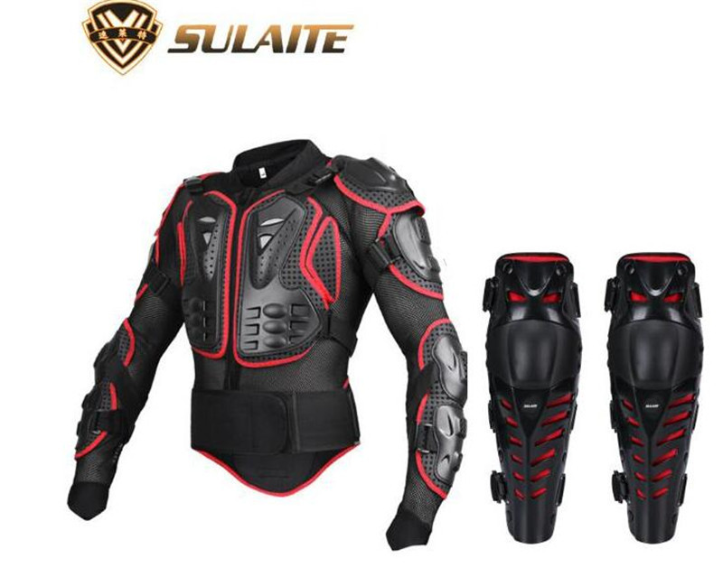 SULAITE Motorcycle Jacket Body Armor Protective Gears Motocross Off-Road Body Protection Jacket + Motorcycle Knee Protector scoyco professional motorcycle full body armor protector protective motorcycle body armor motorcycle jacket black and red