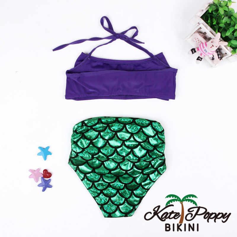 2 шт. принцесса хвост русалки купальные костюмы Infantil детское бикини комплект необычный костюм купальник для девочек