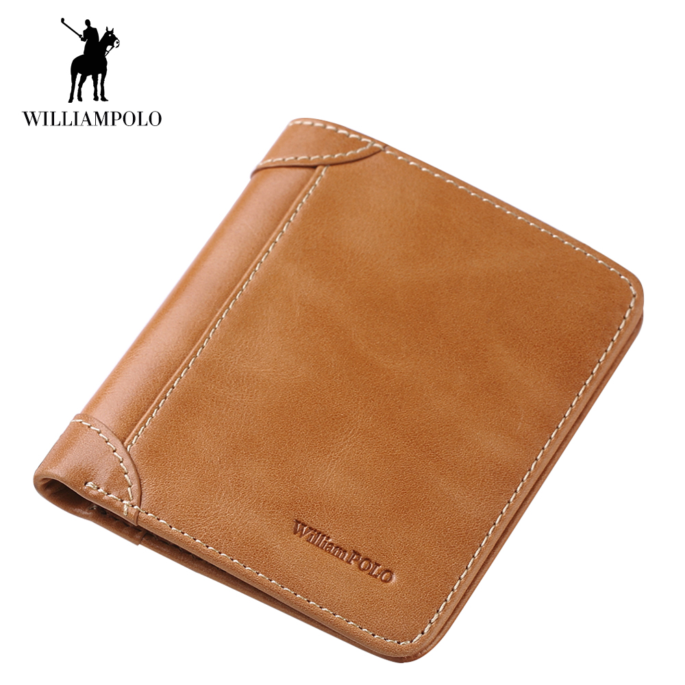 WilliamPOLO Men Wallet Cow Leather Credit Card Holder Genuine Leather Purse Brand Male Purse ID Card Dollar Bill Wallet 141 hot sale jinbaolai bifold wallet men leather credit id card holder purse mini wallet fashion brand quality purse wallet for men