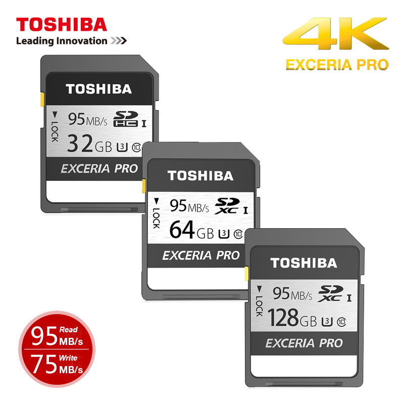 Toshiba Exceria Pro N401 128GB 64GB  SDXC SDHC U3 32GB Up To 95MB/s Class10 UHS-i For Demanding Photographers 4K For DSLR Camera