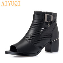 AIYUQI High heel sandals women 2019 genuine leather latest large size girls high platform shoes