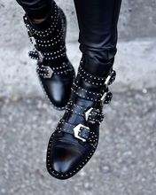 2016 Black Studded Buckle Boots Silver-tone studded women boots hardware Four straps Ankle-high buffed calfskin boots in black