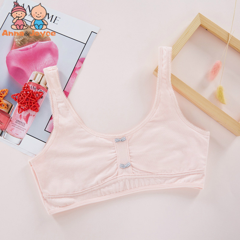 New Solid Color Cotton Girl Vest Girl Development Period No Steel Ring Underwear Strap Tube Top Wrapped Chest HTST510