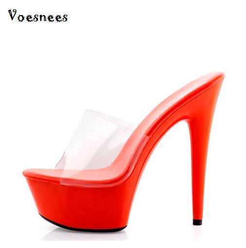 Shoes Woman 2016 Summer High Heels 13-15cm Slides Sexy Sandals Non-slip Transparent Waterproof Pumps T Station Catwalk Shoes