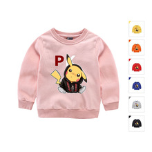 Hot Fashion Autumn Kids Tops Cute Kids T Shirt Pokemon Pikachu Baby Toddler Boys Clothes Cotton Long Sleeve Tee Shirts