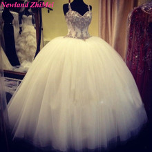 sexy ball gown wedding dress with straps crystals beading vintage sweetheart tulle bridal gowns fashionable vestido novia
