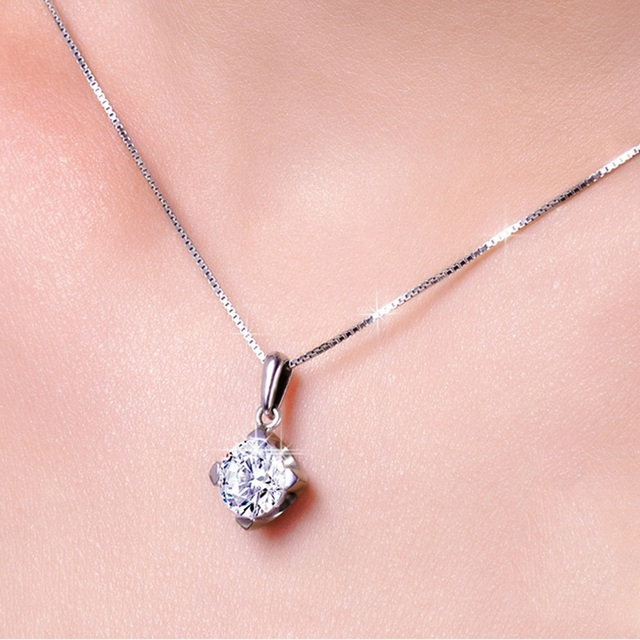 OMHXZJ Wholesale European Fashion Woman Girl Party Gift Square Amethyst Zircon 925 Sterling Silver Necklace Pendant Charm CA59