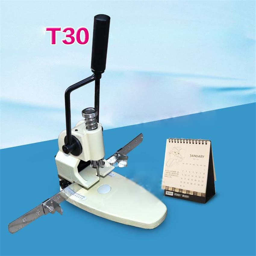 T30 Paper drilling machine manual, hand hole punch paper machine, single hole thickness 35mm Manual single hole drilling machine цены