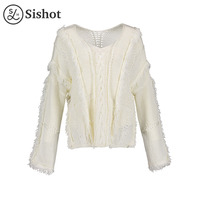 Sishot Women Casual Knitwear 2017 Autumn Winter White Plain V Neck Long Sleeve Loose Hobemia Tassel