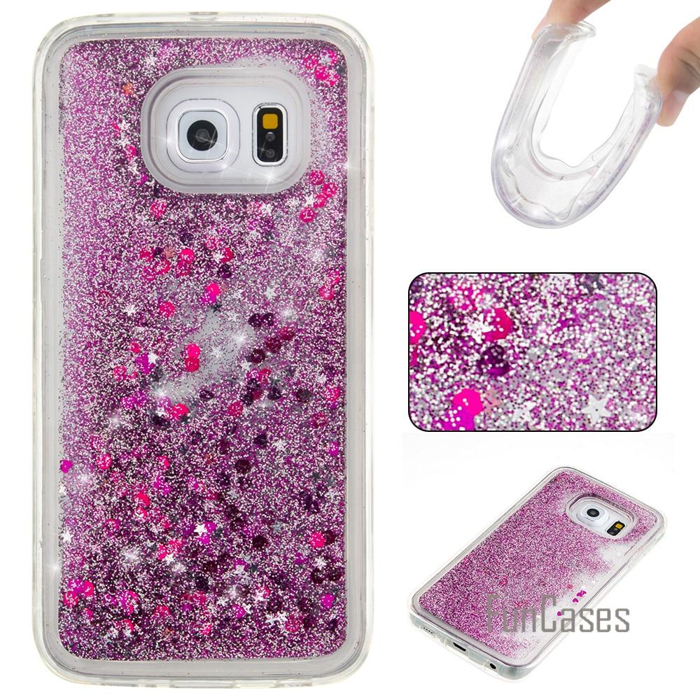 Liquide Glitter Cas de Sables Mouvants pour coque Samsung S6 S7 Bord Cas 5.1 pouce pour fundas Samsung Galaxy S6 S7 Couverture De Cas Quicksand