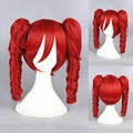 40cm 16inch MCOSER Wholesale Price Vocaloid Kasane Teto Medium Wave Anime Cosplay Red Wig + Double Ponytails Free Shipping