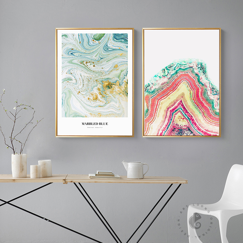 Abstract Colorful Gold Pink Ocean Letter Wall Art Posters And Prints For Girls Room Living Room Love Romantic Home Decor Mordern