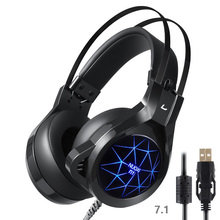 Gaming headset with mic for pc headphone for computer with microphone headset gaming with LED light 7.1 gaming headset luminous