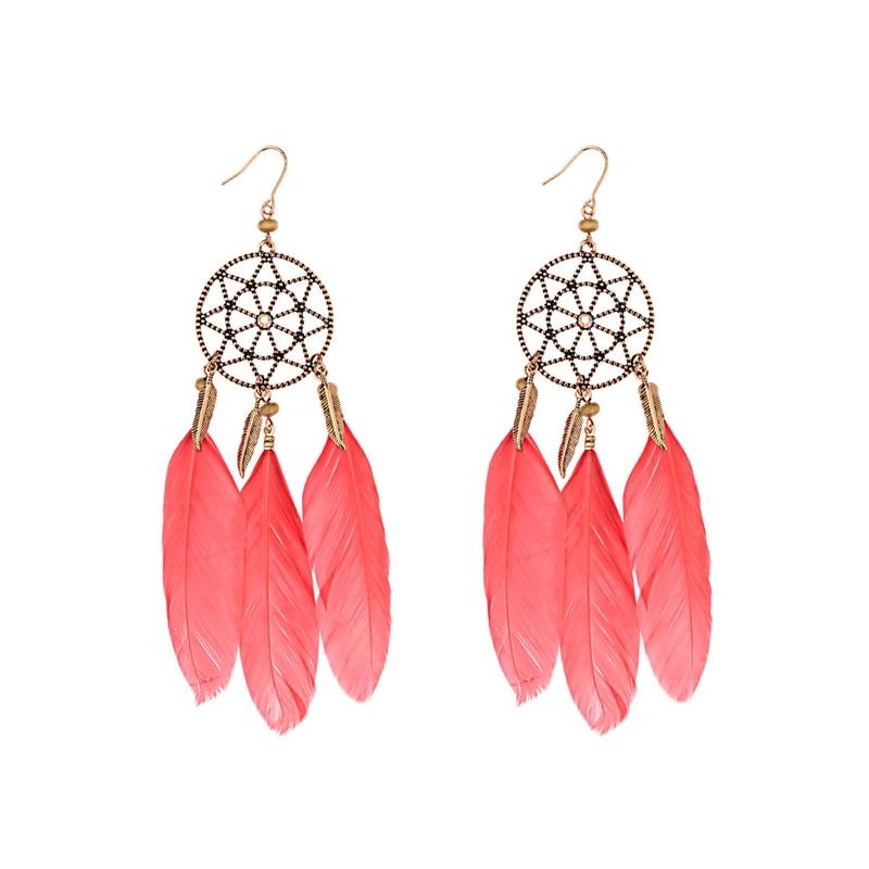 Boucles d'Oreilles Attrape Rêves Nature Rouge bijoux femme tenue unique style chic et bohème turquoise belle or massif style indien amérindienne capteurs de rêves