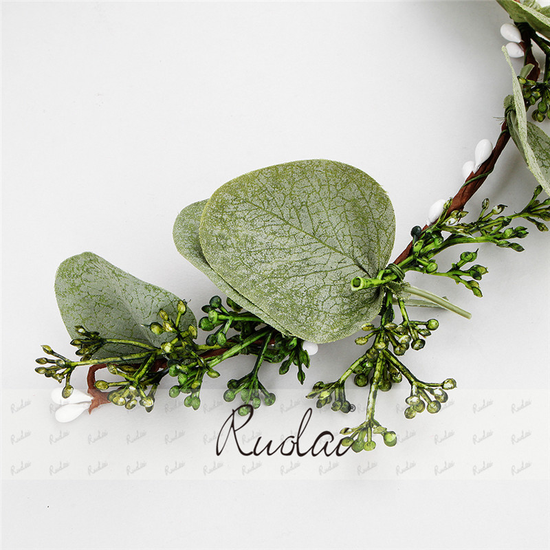 Купить с кэшбэком 2020 Boho Wedding Accessories Headband Green Leaves Hair Comb Headpieces Ribbon for Women Elegant Hair styles HD1