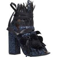 Bling bling винтаж дамы Блестками Блок высокий каблук сандалии женщины Паффи Летней Моды Кисточкой Зашнуровать Гладиатор Peep Toe сандалии