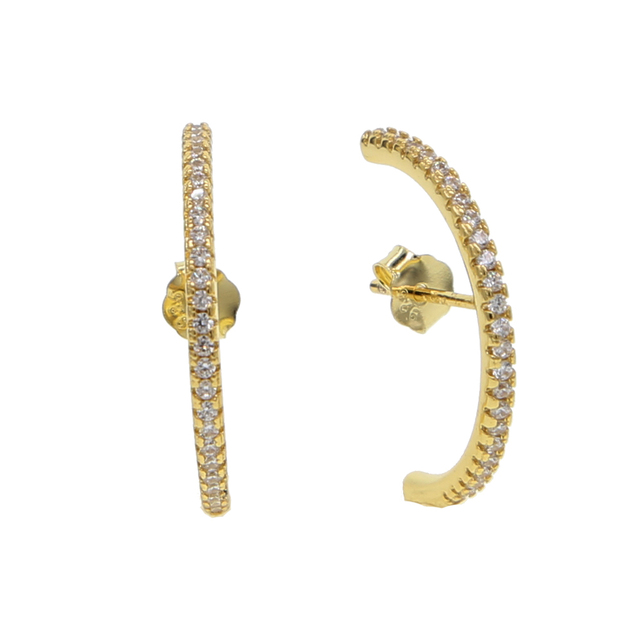 925 sterling silver bạc vàng bạc màu ear bone ear dây sang trọng hợp thời trang lát đá cz dài thanh phụ nữ stud bông tai cho womens