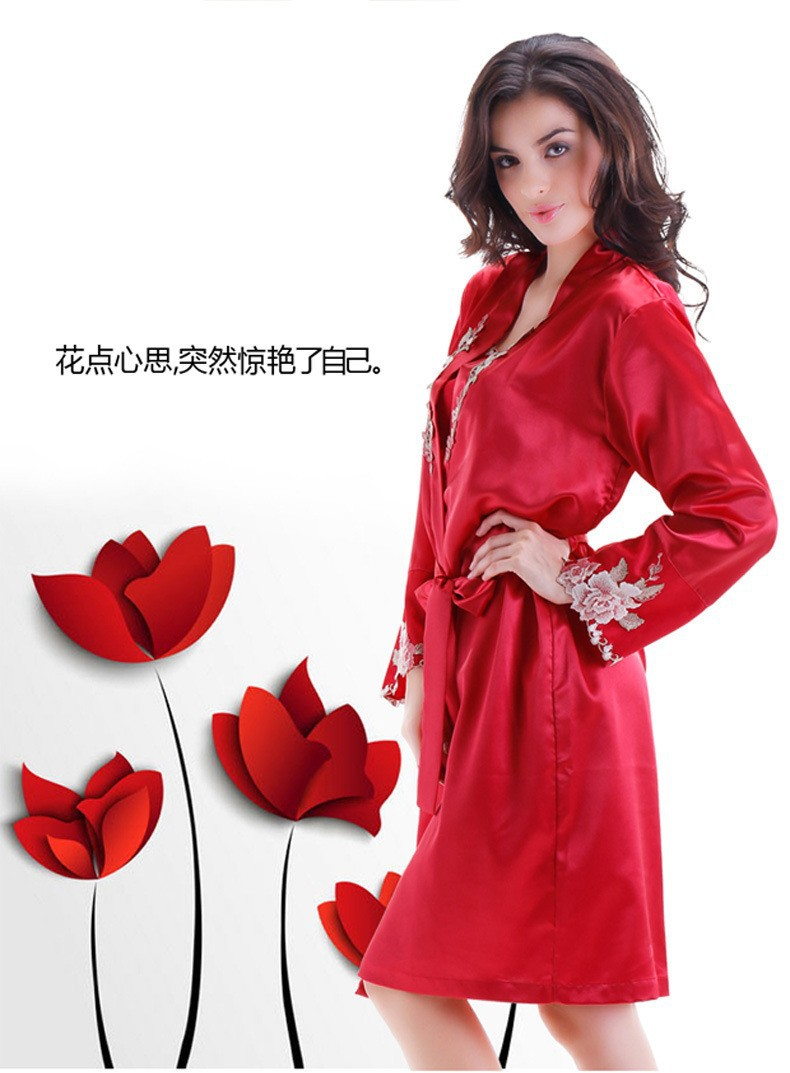 Red Satin Silk Robes and Silk Nightgown Sets for Women Side View