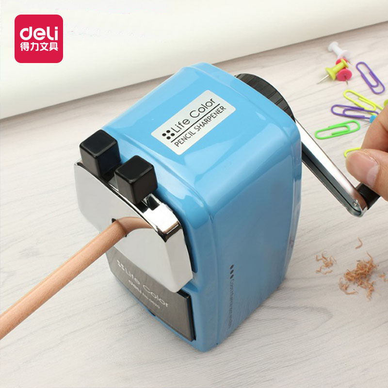 Deli 0620 metal sharpener good quality fashion office stationary mechanical manual pencil sharpener can be fixed on table new deli 0620 life color big heavy quality pencil sharpener metal pencil sharpener