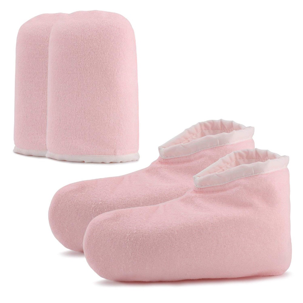 Paraffin Wax Bath Cloth Gloves Booties, Wax Care Insulated Cotton Mittens For Heat Therapy Spa Treatment Tanning Mitt - Pink