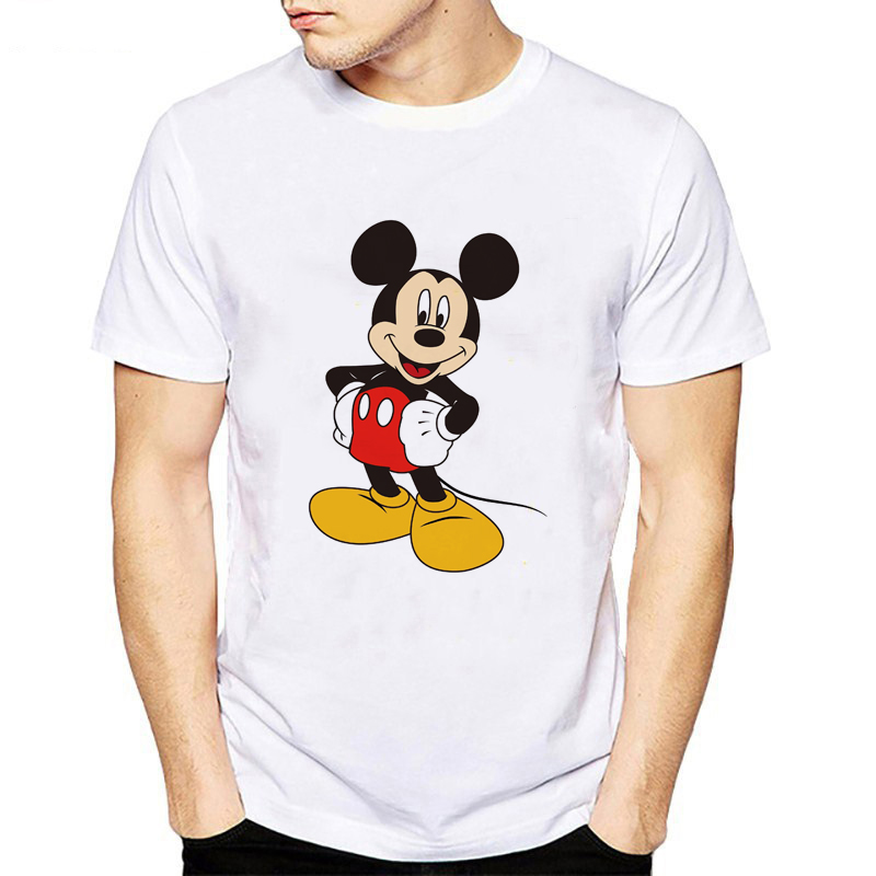 Fashion   T     Shirt   Men Funny Mickey printing Mouse Animal Print   T  -  shirt   Short Sleeve Color mickey Casual Cool Tops hipster tee