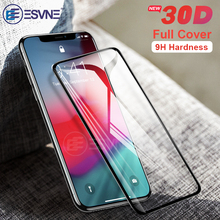 ESVNE 30D Protective Glass For iPhone 7 6 8 Plus XR X XS Full Cover Screen Protector Tempered Iphone