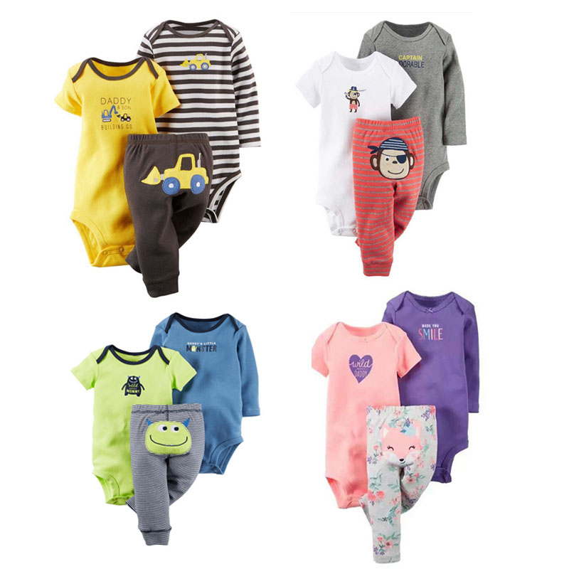 3 Pieces Baby Boys girl Clothing Baby Boys Suits Baby Clothing Set Short Sleeve Children Cotton Sets 2018 new products