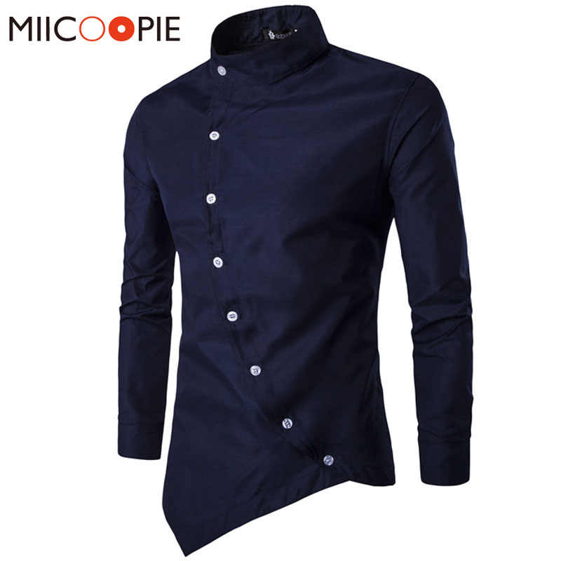 Men Shirt 2018 Personality Oblique Button Irregular Men Casual Shirt Men Clothes Long Sleeve Casual Slim Fit Male Shirt XXL