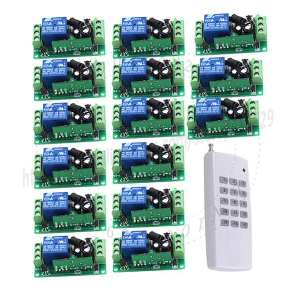 15CH DC 12V rf home automation universal remote control switch 315/433MHZ 1 transmitter +15 recevier wireless switch SKU: 5109 dc 12v led display digital delay timer control switch module plc automation new