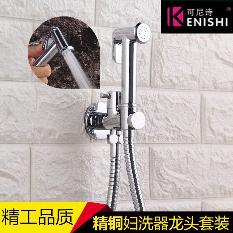 Toilet Brass Hand Held Bidet Spray Shower Head Douche Kit Shatta Copper Valve Bathroom Bidet Sprayer Jet Tap Holder Hose COLD
