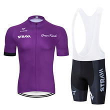 2019 Summer Strava Team Purple Cycling Clothing Bike Jersey Ropa Mens Bicycle Pro Jerseys Gel Pad Shorts Sets
