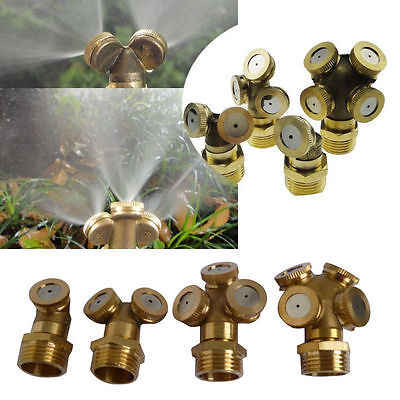 Adjustable Brass Spray Misting Nozzle Garden Sprinklers Fitting Hose Water Connector 4 Holes Irrigation Fitting
