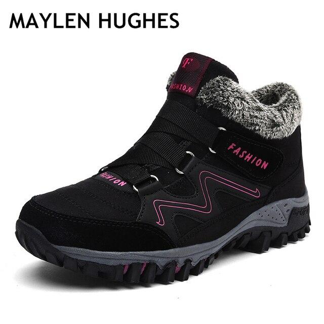 2018 Hot Mulheres Camurça Pele Morno Botas botas de Trabalho das Mulheres de Couro botas Mulheres botas de Inverno Botas de Neve Mulheres À Prova D' Água Grande tamanho 36-46