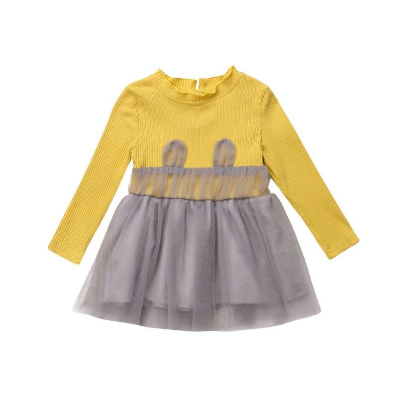 0-24months Mode Baby Mädchen Tüll Kleid Langarm Stricken Patchwork Weiche Warme Herbst Kleider Prinzessin Party Kleidung