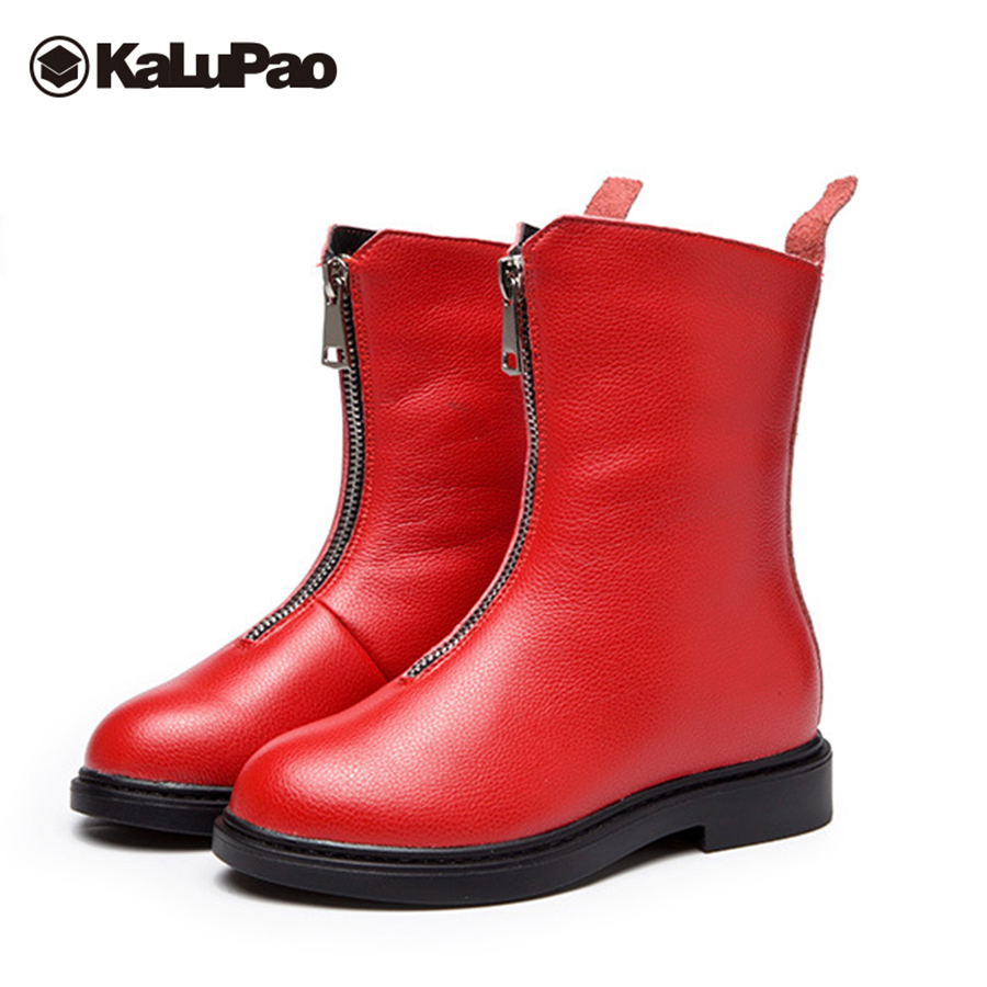 Kalupao black red winter boots girls flat with mid calf snow boots girls anti slip shoes for teenage girls rubber boots woolen