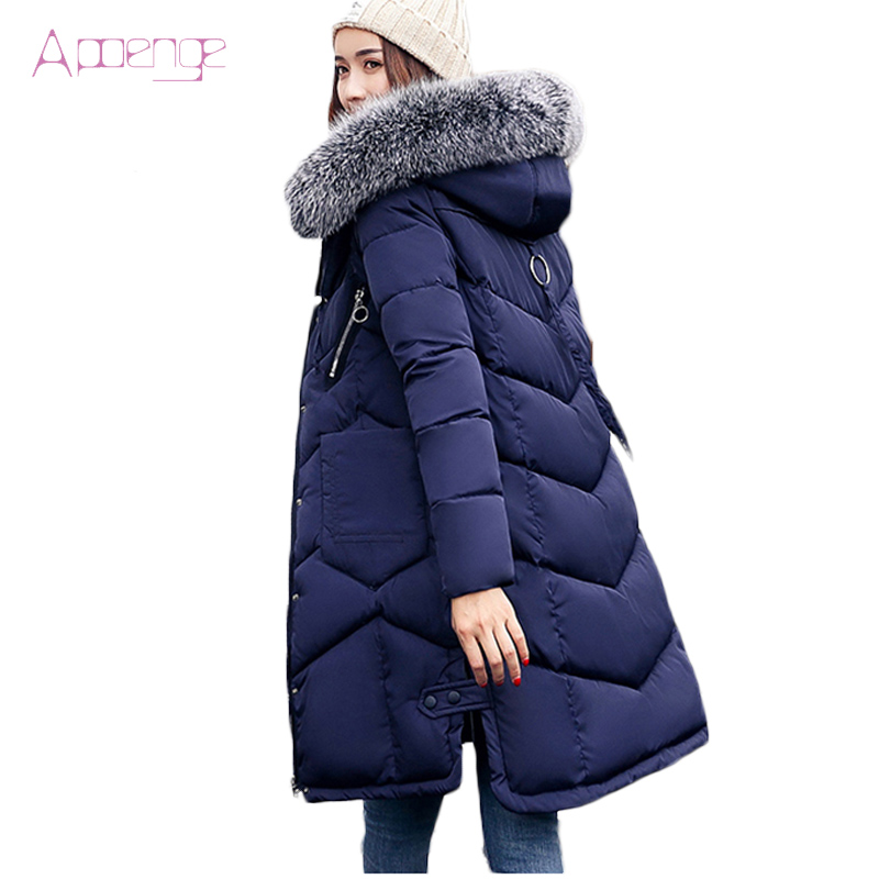 APOENGE 2017 New Winter Jacket Long Padded-Cotton Coats Hooded Coats Korean Thicker Parkas With Fur Collar Overcoats LZ516 aishgwbsj winter women jacket 2017 new hooded female cotton coats padded fur collar parkas plus size overcoats pl155