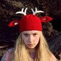 Зима Теплая Ручной женщин Смешные Шапочки Палевый Олень Теплый Hat Cap Подарок