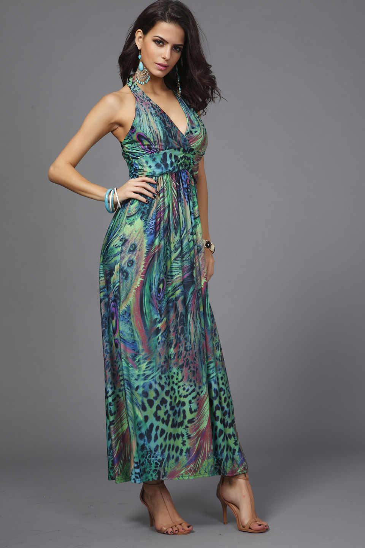 414b8783f2a ... Milk Silk Chiffon Dresses Slim Waist Halter V-neck Peacock Printing  Colorful Bohemia Sleeveless Long ...