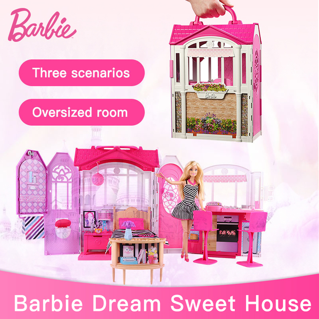 Genuine Barbie Glam Gateway House Dreamhouse With Doll Furniture Set