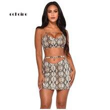 Echoine Women Two Piece Set Snake Print Fashion Tracksuit Slim Strapless Stripe Bra Tops Sexy Short Skirts Suits Female Clothes