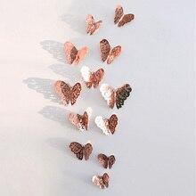 12 sztuk/zestaw 3D naklejki ścienne motyl wytłaczany papier naklejki motyle na ślub urodziny domu pokój diy deco Baby Shower Supplie