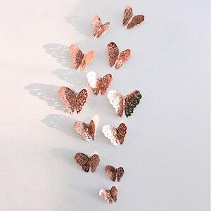 Image 1 - 12 sztuk/zestaw 3D naklejki ścienne motyl wytłaczany papier naklejki motyle na ślub urodziny domu pokój diy deco Baby Shower Supplie